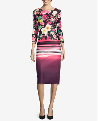 ECI Mixed-Print Sheath Dress