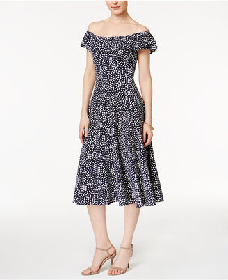 Betsey Johnson Off-The-Shoulder Printed Dress $118 thestylecure.com