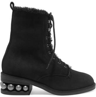 Nicholas Kirkwood Casati Embellished Shearling-lined Suede Ankle Boots - Black