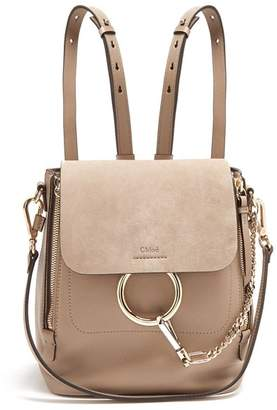 Chloé Faye Small Suede And Leather Backpack - Womens - Grey