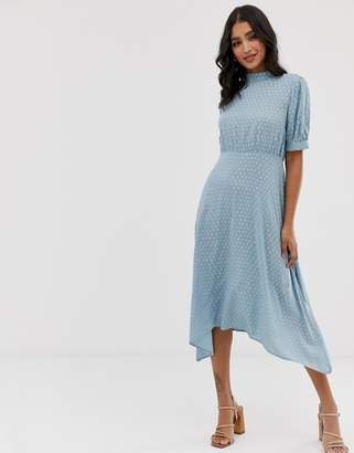 Vila high neck geo midi dress with volume sleeve