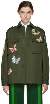 Valentino Green Butterflies Military Jacket