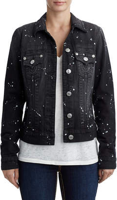 True Religion WOMENS PAINT SPLATTER TRUCKER DENIM JACKET