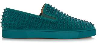 Christian Louboutin Roller Boat Spike Embellished Slip On Trainers - Mens - Green