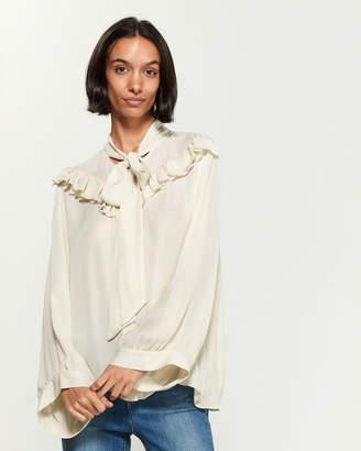 Nili Lotan Silk Vanna Ruffle Long Sleeve Blouse