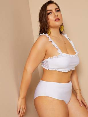 Shein Plus Frill Trim Top With High Waist Bikini
