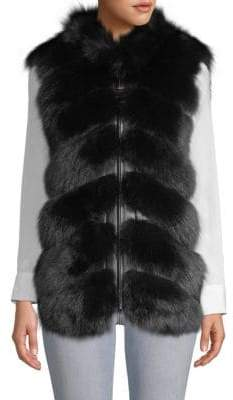 V-Neck Sheep, Fox Fur & Leather Vest