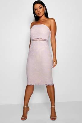 boohoo Katherine Lace Bandeau Midi Dress