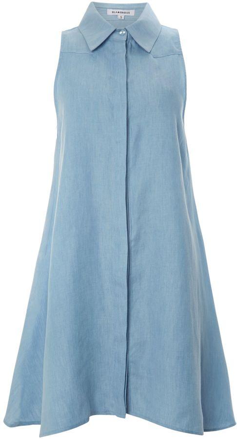 Glamorous Sleeveless denim shirt collar swing dress