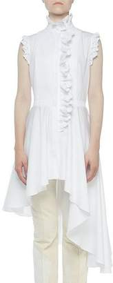 Alexander McQueen High-Neck Lace-Trim Button-Front Asymmetric Blouse