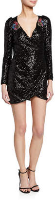 Pinko Long-Sleeve Sequined Short Cocktail Dress