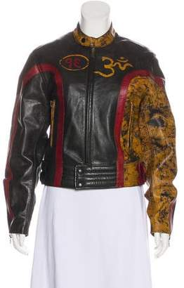 Belstaff Printed Zip-Up Biker Jacket