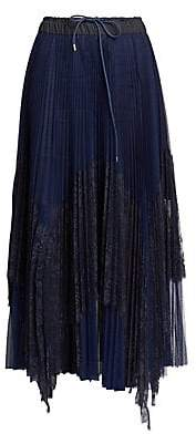 Sacai Women's Lace Pleated Slit Midi Skirt