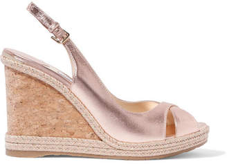 9724aeba91b Jimmy Choo Amely 105 Metallic Leather Espadrille Wedge Sandals - Gold