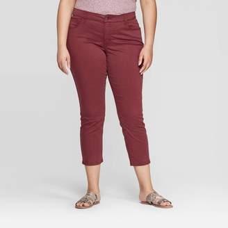 Universal Thread Women's Plus Size Skinny Cropped Jeans Burgundy