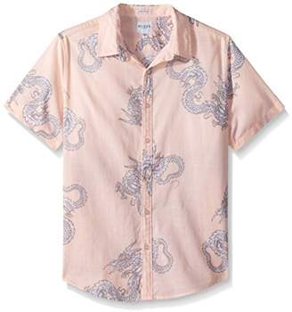 GUESS Men's Short Sleeve Sunset Dragon Camp Shirt