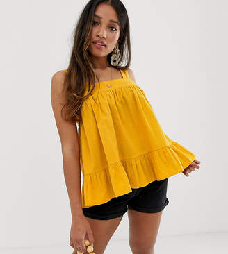 9b946d0581397 Asos DESIGN Petite square neck cami in seersucker sun top