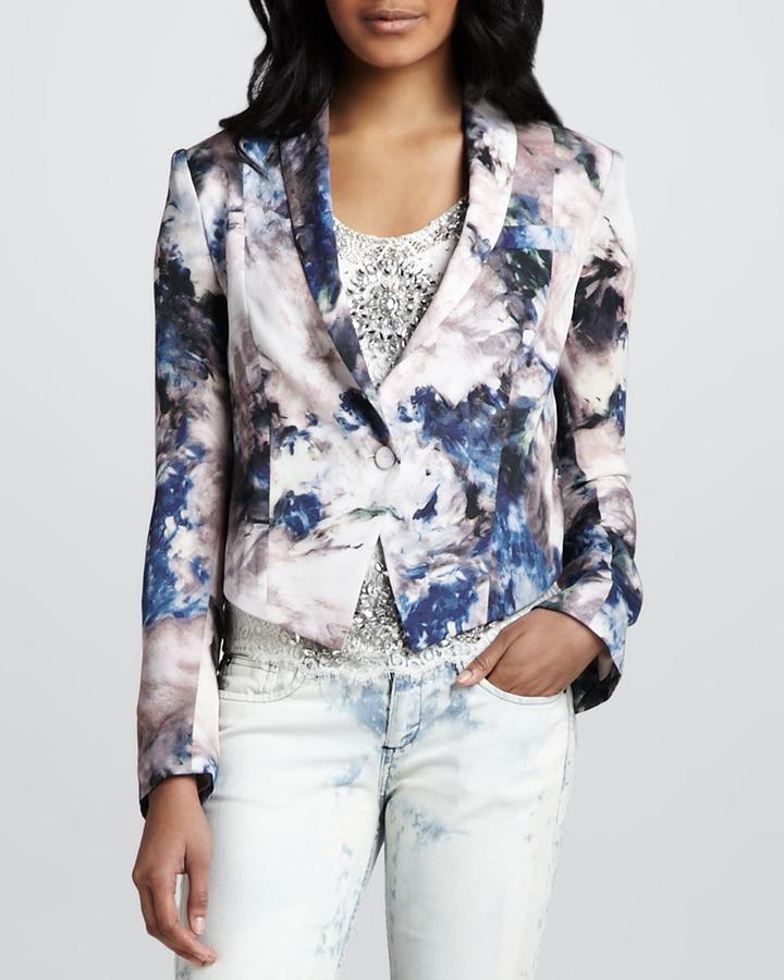 Haute Hippie Cropped Floral-Print Blazer