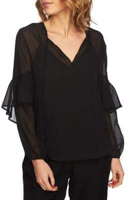 1 STATE 1.State Sheer Long-Sleeve Blouse
