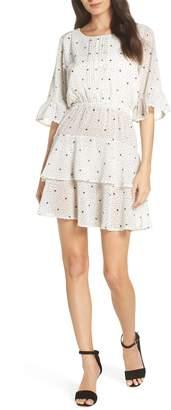 BB Dakota Dots on Dots Ruffle Chiffon Minidress
