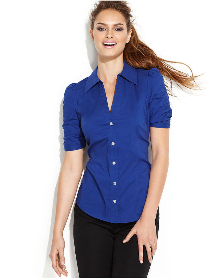 INC International Concepts Top, Short-Sleeve Rhinestone-Button Shirt