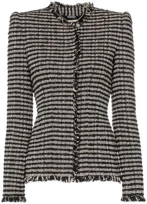 Alexander McQueen frayed edges fitted tweed jacket