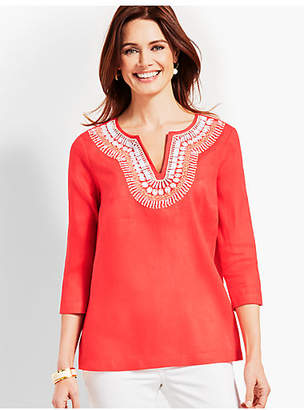 Talbots Shell-Embellished Linen Tunic Top