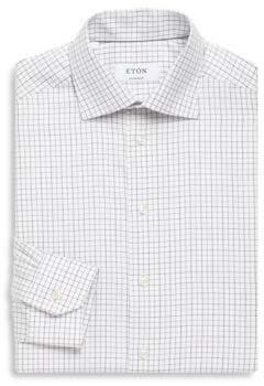 Eton Gingham Print Contemporary-Fit Cotton Dress Shirt