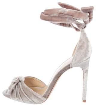 Alexandre Birman Velvet Ankle Strap Sandals