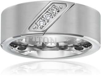 Triton Amazon Collection Men's Tungsten 8mm Round Diamond 3-Stone Wedding Band (1/10cttw, I-J Color)