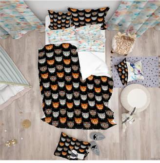 Designart 'Cute Cats Pattern' Modern Kids Duvet Cover Set - Queen Bedding