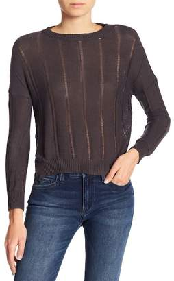 Etienne Marcel Distressed Hi-Low Waffle Knit Sweater