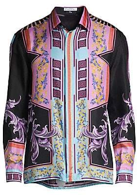 Versace Men's Tokyo Nights Woven Silk Shirt