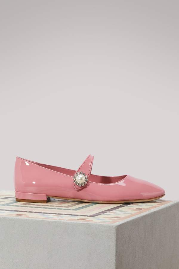 Miu Miu Mary Jane leather ballet pumps