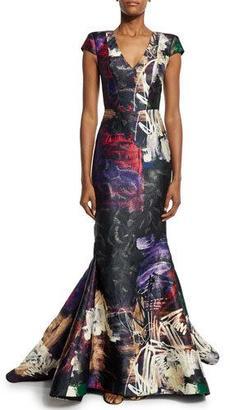 Rubin Singer Cap-Sleeve Graffiti-Print Trumpet Gown, Black/Multi $3,990 thestylecure.com