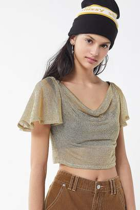 Urban Outfitters Loretta Metallic Cowl Neck Cropped Top