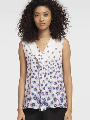 DKNY Floral Printed V-Neck Top With Ruffle