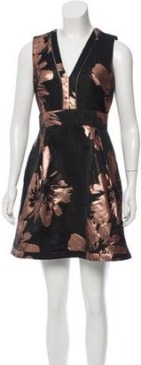 Nicole Miller Metallic Floral Print Dress w/ Tags $145 thestylecure.com