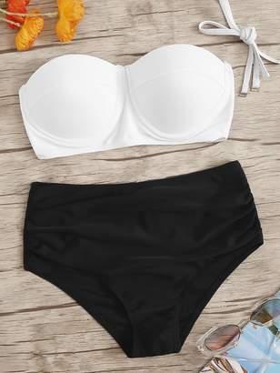 Shein Underwired Top With Ruched High Waist Bikini Set