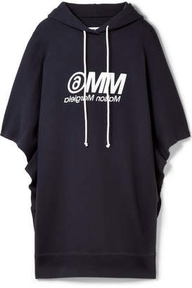 MM6 MAISON MARGIELA Oversized Hooded Printed Cotton-terry Mini Dress - Midnight blue