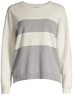 Peserico Women's Long-Sleeve Striped Wool, Silk & Cashmere Sweater