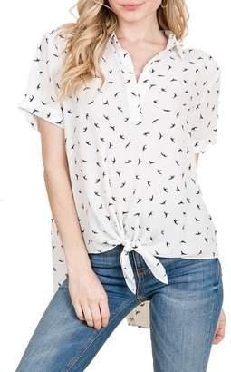 Olivia Pratt Bird High/Low Tie Front Blouse