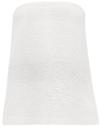 Raey Broderie Anglaise Cotton Blend Bandeau Top - Womens - White