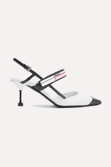 Prada - Logo-print Glossed-leather Slingback Pumps - White