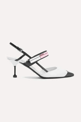 Prada Logo-print Glossed-leather Slingback Pumps - White