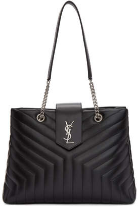 Saint Laurent Black Large Monogramme Loulou Shopping Tote