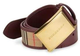 Burberry Charles Check Leather Belt