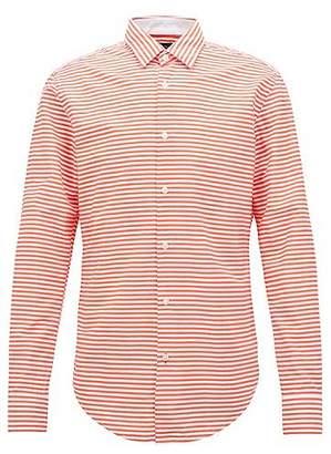 HUGO BOSS Slim-fit shirt in striped cotton poplin