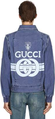 Gucci Logo Print Cotton Canvas Jacket