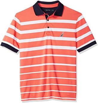 Nautica Men's Big and Tall Classic Fit Short Sleeve Striped Moisture Wicking Polo Shirt